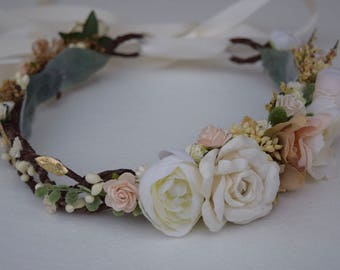 Ivory, Nude & Blush Flower Crown - Nude Flower Girl Crown - Photo Prop - Bridal Flower Crown- Blush Hair Wreath - Wedding Flower Crown
