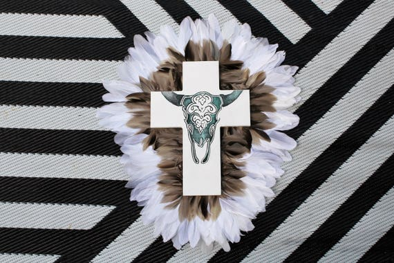Painted Skull Cross Neutral Brown White Feathers Wall Art, White black Boho Design,  Timber