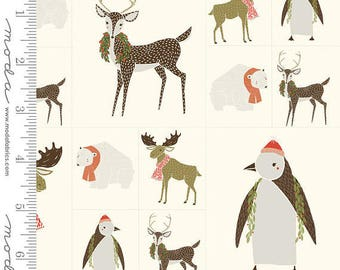 Gingiber Merrily Fabric Panel Moda 48211 12 Christmas Animal Fabric
