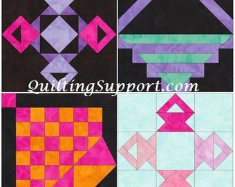 10 Inch Basket Foundation Set 3 Paper Piecing Quilting 4 Block Patterns PDF