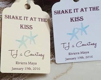 "Personalized Favor Tags 2.5""L x1.8""w,  Wedding tags, Favor tags, Gift tags, Beach wedding, destination wedding, maracas, kiss, kiss ceremony"