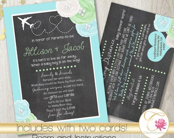 Long Distance Baby or Bridal Shower Invitation PRINTABLE! Shabby Chic! Rustic Chalkboard Baby Boy