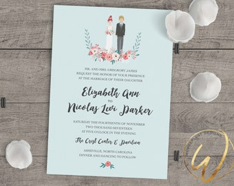 Personalized Portrait Wedding Invitation | Bride and Groom Illustration | Made to Order | Digital File