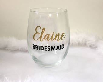 Personalized stemless wine glasses, bridal party gifts, bridesmaids gift, stemless wine glasses, customized gifts