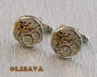SALE...Watch Movement Cufflinks - Steampunk Cufflinks . Steampunk jewelry ,  Vintage Clockwork Watch Movement Cuff Links