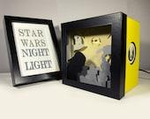 Star Wars shadow box night light, Special night light, unique special gift, geek night light, star wars home decor, star wars gift