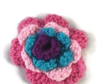 Crocheted Flower Brooch - Flower Brooch - Yarn Brooch - Yarn Flower Brooch- Bright Flower Brooch - Brooch - Flower Badge - Flower Rosette