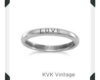 "Oxidized ""Love"" Band - Inspirational Ring, Stamped Ring"
