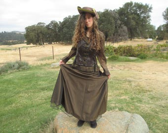 Pirate Costume - #1 - Extravagant - 5 Pieces Including Jacket - Corset - Pirate Hat - Buckles - Lace Up Back - SIze Large to X-Large