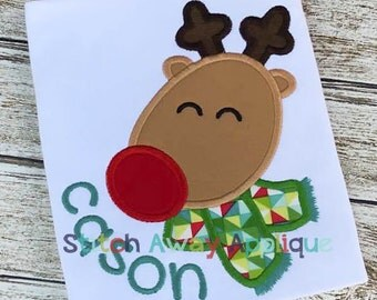 Christmas Reindeer Boy Machine Applique Design
