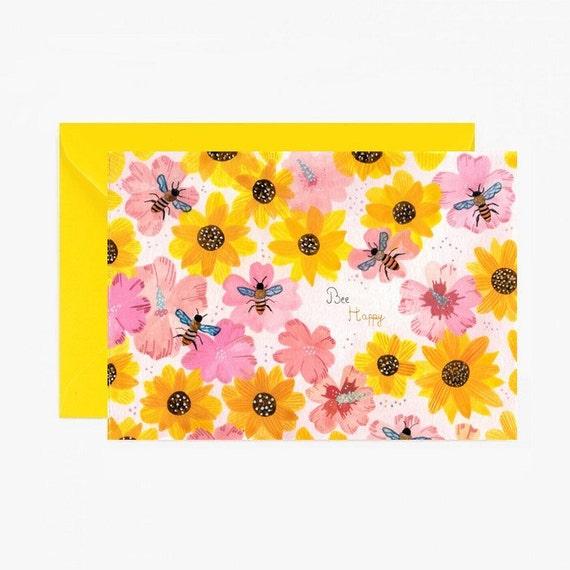 Carte postale, carte de vœux, carte à message, printemps, joie, abeille, mot doux, jaune, rose, fleurs, vintage livraison gratuite france