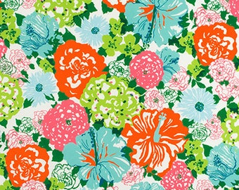 Lilly Pulitzer- OUTDOOR -Heritage Floral- Aqua/Orange- Fabric By The Yard
