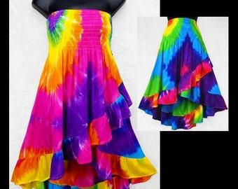 NLTDC UV Reactive hand tie dyed Ripple Skirts n dresses