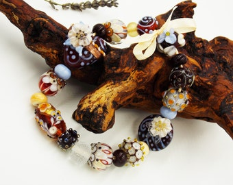 Glass Beads, Handmade Lampwork Bead Set for Jewelry - Brown, Buttermilk, Ivory, Gray, Silver, Gold.