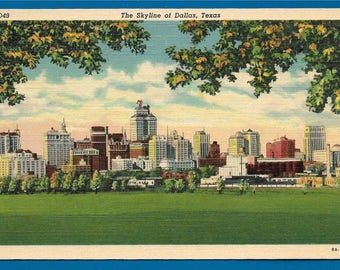 Vintage Linen Postcard - The Striking View of the City of Dallas, Texas as Seen From the Cadiz Street Viaduct  (2440)
