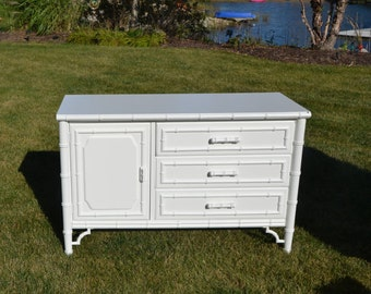 SOLD Dresser Bamboo Fretwork Dresser/ White Bamboo / Has a matching chest/ Bedroom set