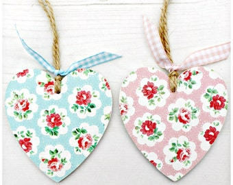 Decorative Hanging Wooden Heart. Cath Kidston. Provence Rose Print. Floral. Blue. Pink. Country Cottage. Home. Decor. Gingham. Twine.