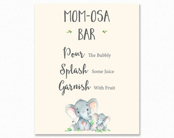 Elephant Mimosa Bar Sign - Baby Shower Mimosa Bar Sign Printable - Elephant Momosa Bar Sign - Baby Shower Sign