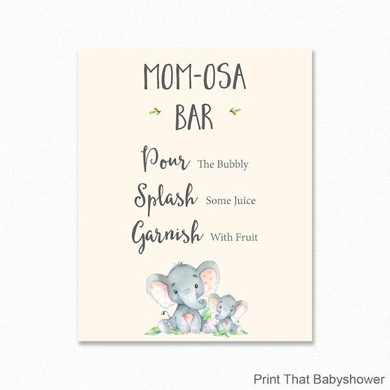 Elephant Mimosa Bar Sign Baby Shower Mimosa Bar Sign