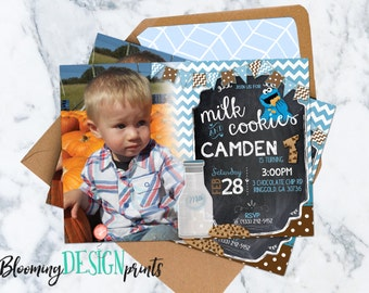 Milk and Cookies Birthday Party Invitation with Photo