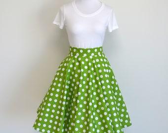 Green and White Polka Dot Homemade Circle/Swing Skirt (No Sash)