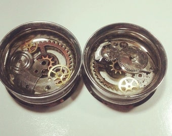 steampunk clockwork surgical steel plugs gauge