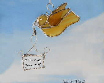 Glass gold bird, this glass message carrier will transmit the message of your choice in a pretty box handmade gift card.  Suncatcher