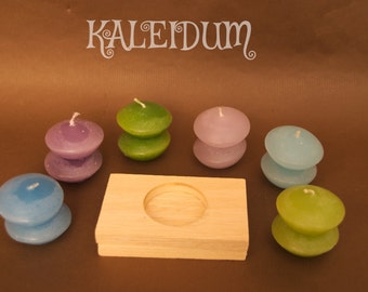 Frosted colors spa-stone candles - Set of 12