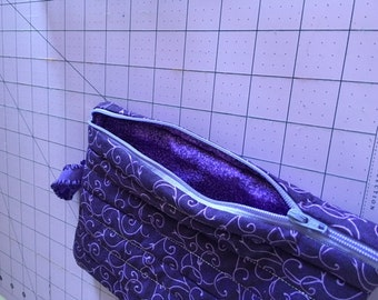 Hand made purple large zippered cosmetic/kindle/anything bag