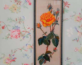 Framed vintage needlepoint | Yellow rose picture | Granny chic decor