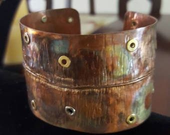Copper flame painted cuff bracelet