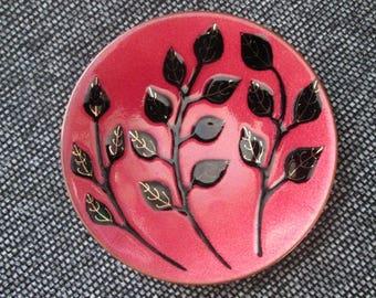 Mid Century Canadian de Passille Sylvestre 1960s Enamel  Rose Black enamel on copper  dish . OOAK