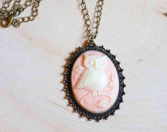 Owl Cameo Necklace, Owl Pendant, Pastel, Owl Jewelry, Cameo Pendant, Boho Jewelry, Gifts for Her