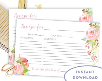 Printable Editable Recipe Card INSTANT DOWNLOAD Pink Floral Recipe Card Bridal Shower Recipe Card Blush Recipe Cards 4x6 The Rosa