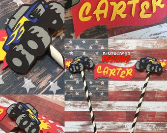 Monster Truck Cake Bunting Topper - Smash Cake Banner - Hot Wheels Themed Boy Birthday - Monster Jam - Blaze & Monster Machines