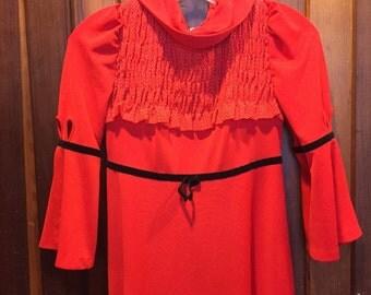 1960S // BERIYA // Size S Red Ruche & Black Bow Dress
