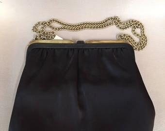 1960s // SATIN LADY // Chain Link Black Purse