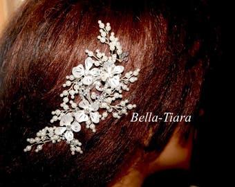 Crystal wedding hair comb, bridal crystal hair vine,  crystal spray, pearl wedding hair vine, wedding hair comb, bridal hair clip