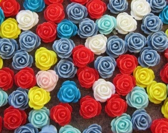 30 Resin Rose Cabochons, Flower, Flat Back, 13mm Mixed Colour Red Blue Yellow