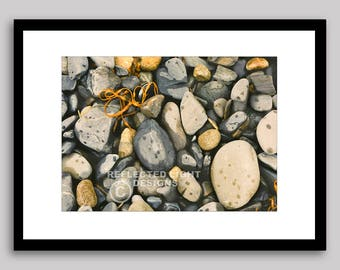 MATTED, UNFRAMED Photograph, Maine Coast Beach Stones,  by Linda Payne-Sylvester