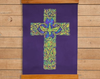 Celtic Cross Wall Decor, Christian, Catholic, Printed on Duck Cloth