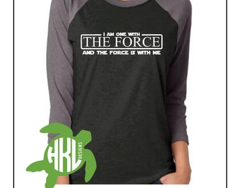 One with the Force T-Shirt; 3/4 Sleeve