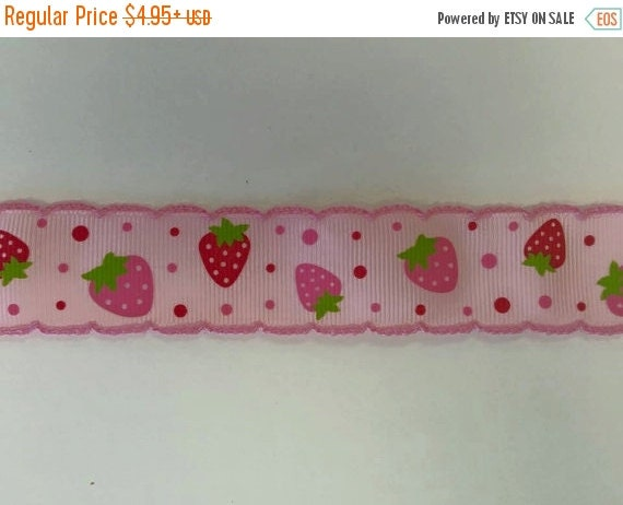 "HOT DEAL Crochet Edge Strawberry 1"" Grosgrain Hair Bow Craft Ribbon"