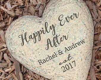 Couples Garden Stone, Engraved Garden Stone, Heart Stone