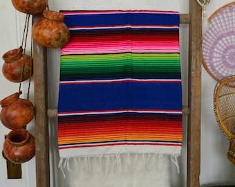 Bohemian Throw • Vintage Neon Mexican Blanket
