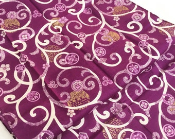 Purple tenugui, japanese family crest, karakusa, fabric, wrapping cloth, Japanese fabric, cotton fabric, gift for him