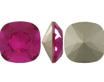 4470 FUCHSIA 12mm Swarovski Crystal Fancy Stone Cushion Cut, Magenta