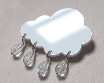 White cloud-shaped brooch with chrystal drop beads, cloud with raindrops