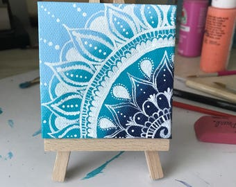 Mini Canvas Mandala Painting, Desk Art, Mandala Art, Canvas Art