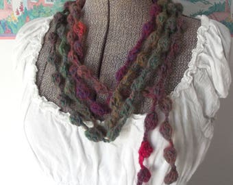 Crochet Skinny Scarf Bobbles Berries Green Turquoise Hot Pink Year Round Wear Belt Fiber Necklace